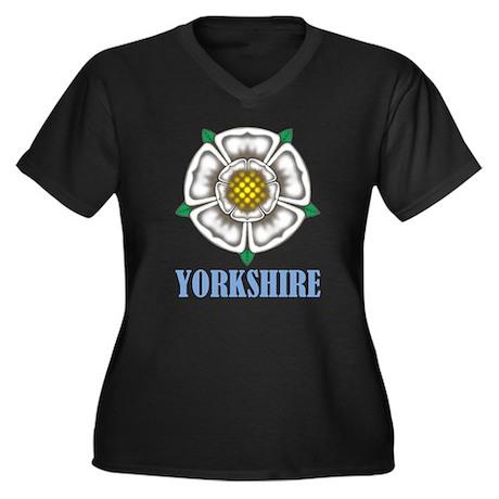 White Rose Women's Plus Size V-Neck Dark T-Shirt