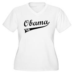 Obama 2012 Swish Women's Plus Size V-Neck T-Shirt