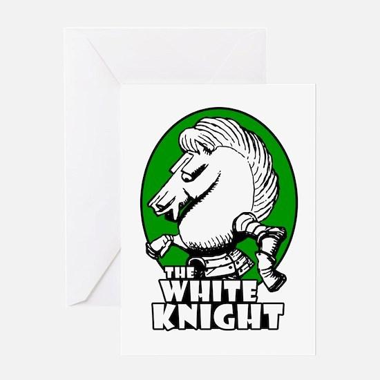 White Knight Logo Green Greeting Card