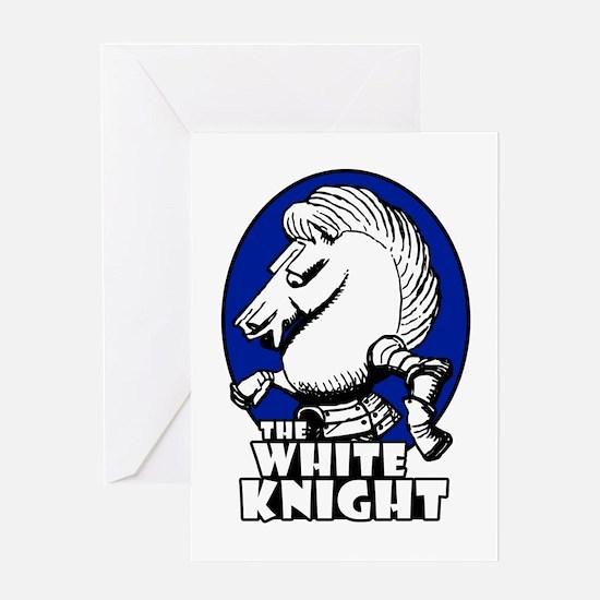 White Knight Logo Blue Greeting Card