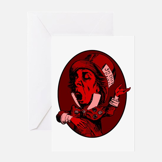 Mad Hatter Logo Red Greeting Card