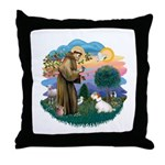 St Francis #2/ Sealyham T Throw Pillow