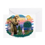 St Francis #2/ Whippet #7 Greeting Cards (Pk of 20