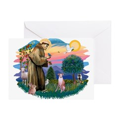 St Francis #2/ Whippet #7 Greeting Card