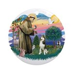 St Francis #2/ Siberian #3 Ornament (Round)