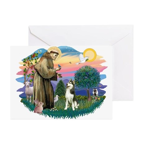 St Francis #2/ Siberian #3 Greeting Cards (Pk of 1