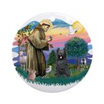 St Francis #2/ Briard (blk) Ornament (Round)