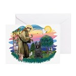 St Francis #2/ Briard (blk) Greeting Cards (Pk of