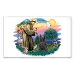 St Francis #2/ Briard (blk) Sticker (Rectangle)