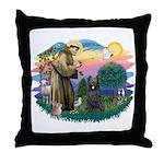 St Francis #2/ Briard (blk) Throw Pillow