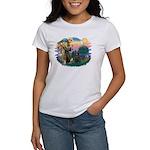 St Francis #2/ Briard (blk) Women's T-Shirt