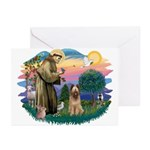 St Francis #2/ Briard (f) Greeting Cards (Pk of 20