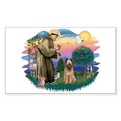 St Francis #2/ Briard (f) Sticker (Rectangle)