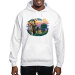 St Francis #2/ Briard (f) Hooded Sweatshirt