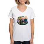 St Francis #2/ Briard (f) Women's V-Neck T-Shirt