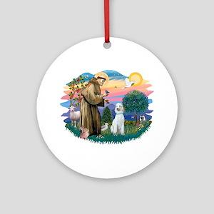St Francis #2/ Poodle (Std C) Ornament (Round)