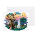 St Francis #2/ Poodle (Std C) Greeting Cards (Pk o