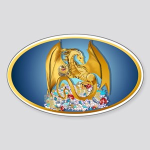 Big Gold Dragon and Globe Sticker (Oval)