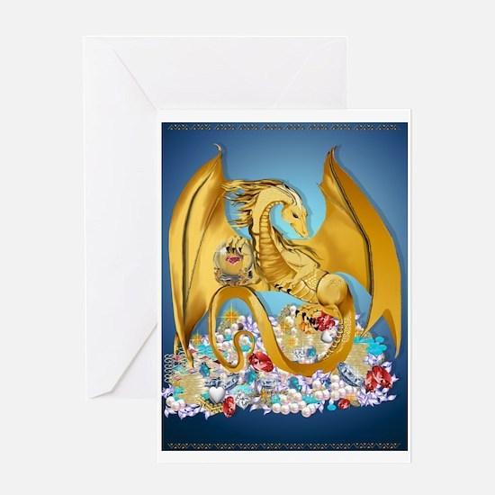 Big Gold Dragon and Globe Greeting Card