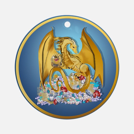 Big Gold Dragon and Globe Ornament (Round)
