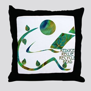 Four Rs Green Reader Throw Pillow