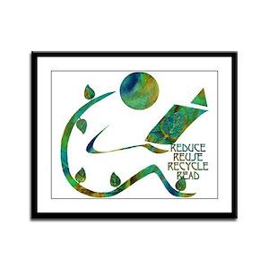Four Rs Green Reader Framed Panel Print