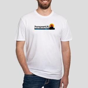 Narragansett RI - Pier Design Fitted T-Shirt