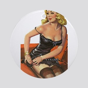 Blonde Pin-Up Ornament (Round)