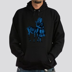 Alice with Fawn Blue Fill Hoodie (dark)
