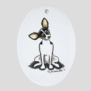 Rat Terrier Sit Pretty Ornament (Oval)