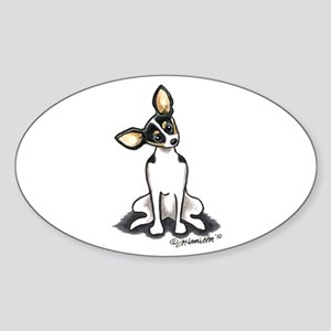 Rat Terrier Sit Pretty Sticker (Oval)