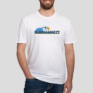 Narragansett RI - Waves Design Fitted T-Shirt