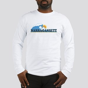 Narragansett RI - Waves Design Long Sleeve T-Shirt