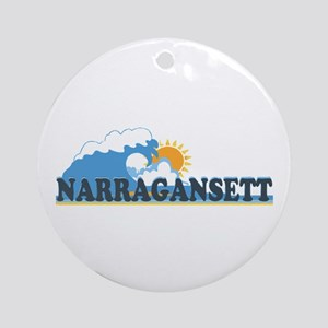 Narragansett RI - Waves Design Ornament (Round)