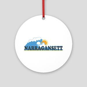 Narragansett RI - Waves Design Ornament (Round)
