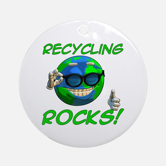 Recycling Rocks! Round Ornament