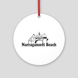 Narragansett RI - Lighthouse Design Ornament (Roun