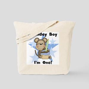 Monkey 1st Birthday Boy Tote Bag
