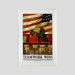 Teamwork Wins Rectangle Magnet