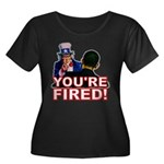 You're Fired! Women's Plus Size Scoop Neck Dark T-