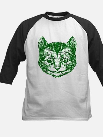 Cheshire Cat Green Kids Baseball Jersey