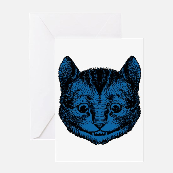 Cheshire Cat Blue Fill Greeting Card