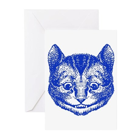 Cheshire Cat Blue Greeting Cards (Pk of 20)