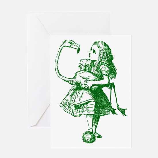 Alice and Flamingo Green Greeting Card