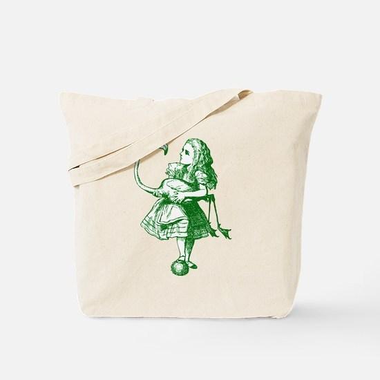 Alice and Flamingo Green Tote Bag
