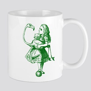 Alice and Flamingo Green Mug
