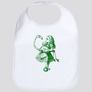 Alice and Flamingo Green Bib