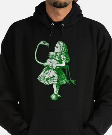 Alice and Flamingo Green Hoodie (dark)