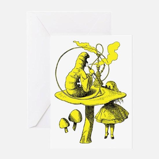 Alice and Caterpillar Yellow Greeting Card