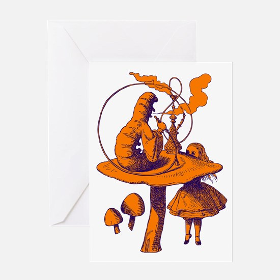 Alice and Caterpillar Purple Greeting Card